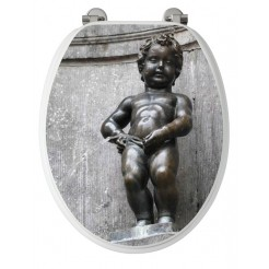 Allibert Manneken Pis wc bril geperst hout Decor gelakt