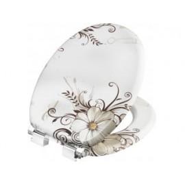 Cornat KSDSC541 Brown Flower Houten WC bril Softclose 90-160 mm